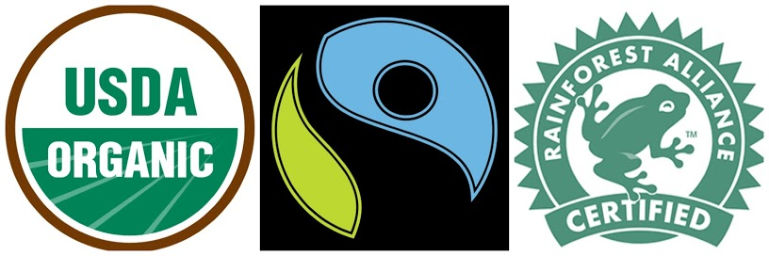 usda organic fair trade rainforest alliance certified logos