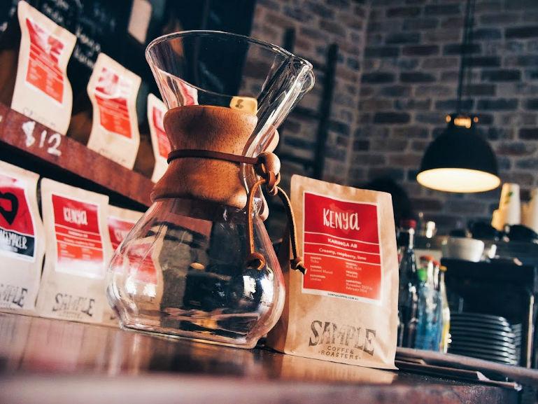 organic coffee brewed with a chemex