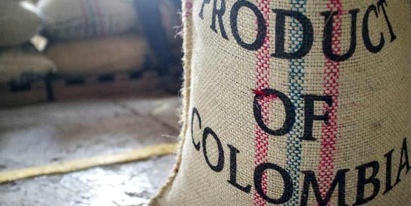 bag of colombian coffee beans