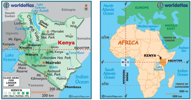 map of kenya in africa