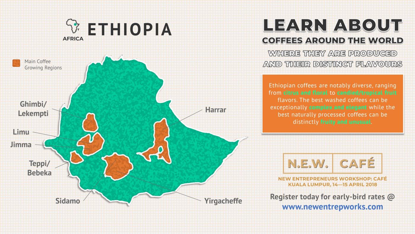 map of ethiopian coffee growing regions