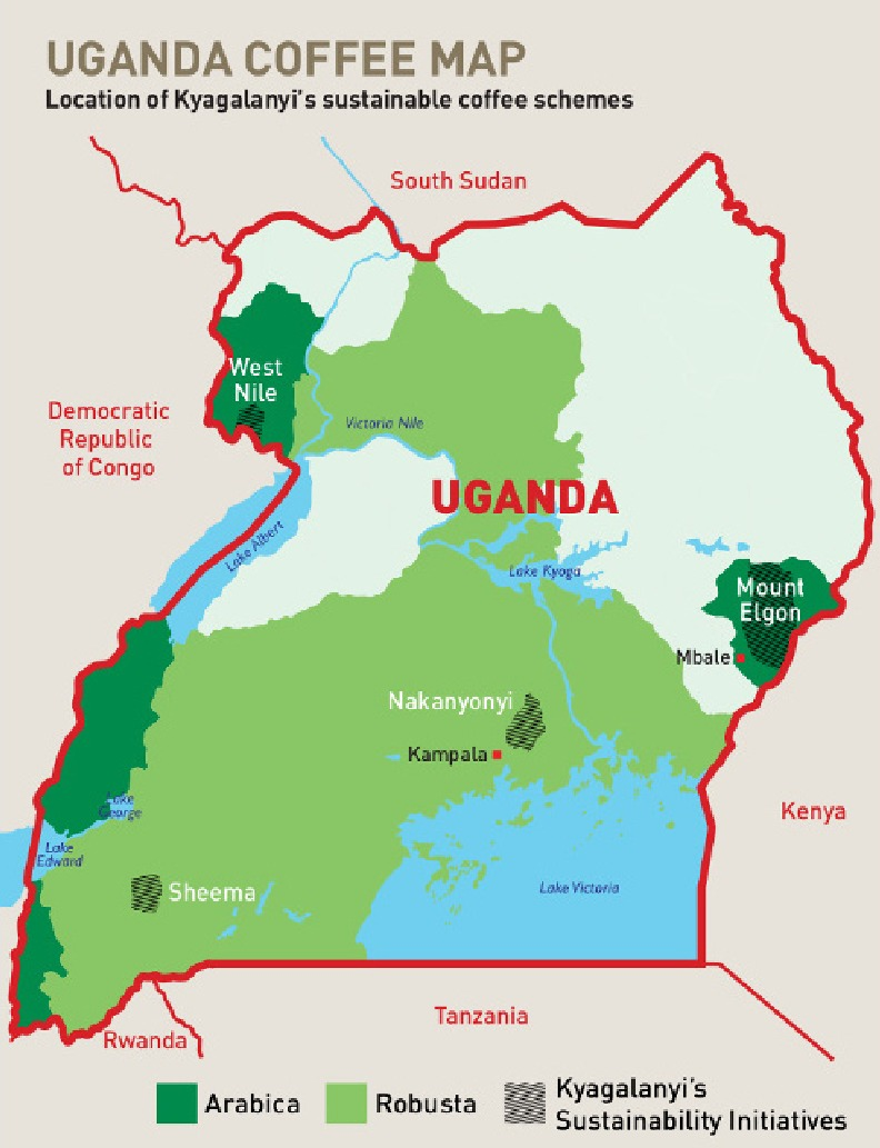 uganda coffee map