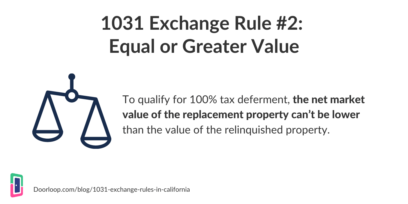1031 exchange rule 2 - equal or greater value
