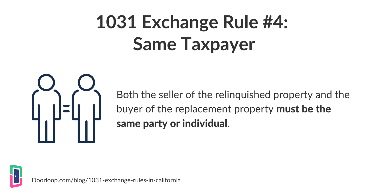 1031 exchange rule 4 - same taxpayer