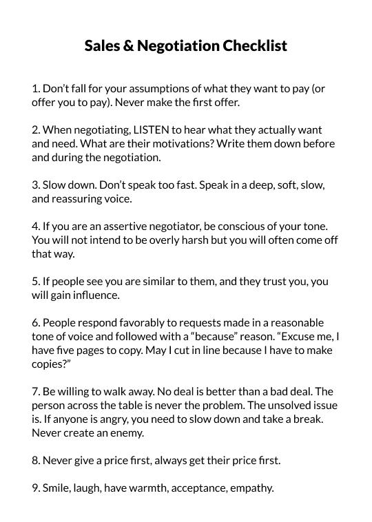 Sales & Negotiation Checklist