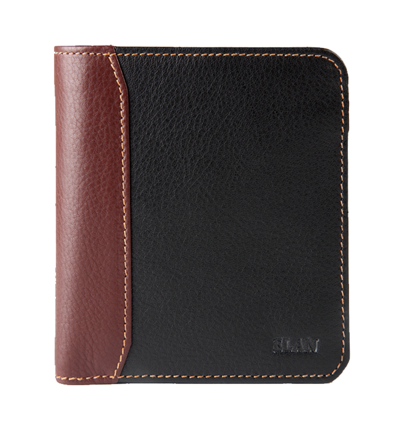 Leather Vertical Bifold Zipper Coin Wallet
