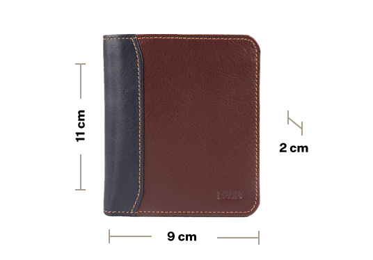 Leather Vertical Bifold Zipper Coin Wallet