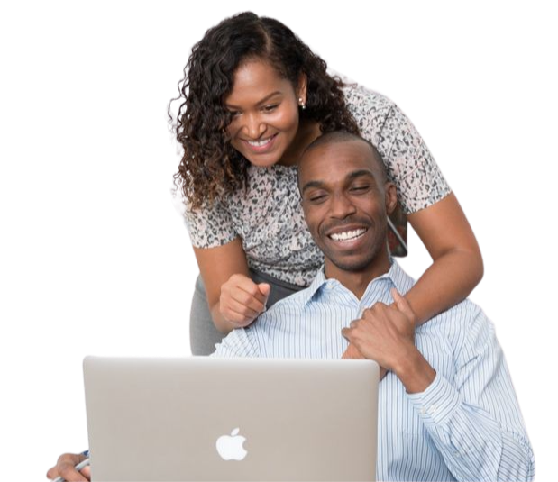 Young couple searching for online loans