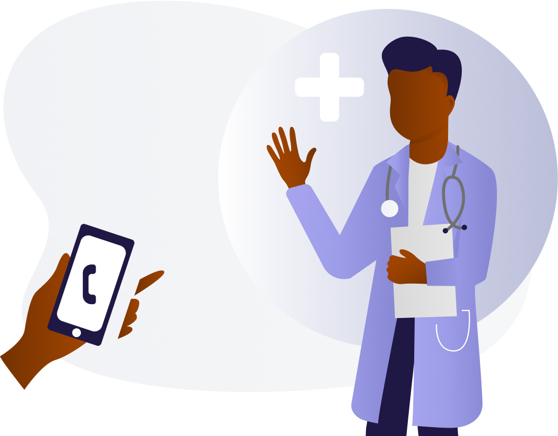 To the left there is a patient's hand hold a cell to symbolize making a phone calls.  To the right is a doctor with a clipboard in their hands.