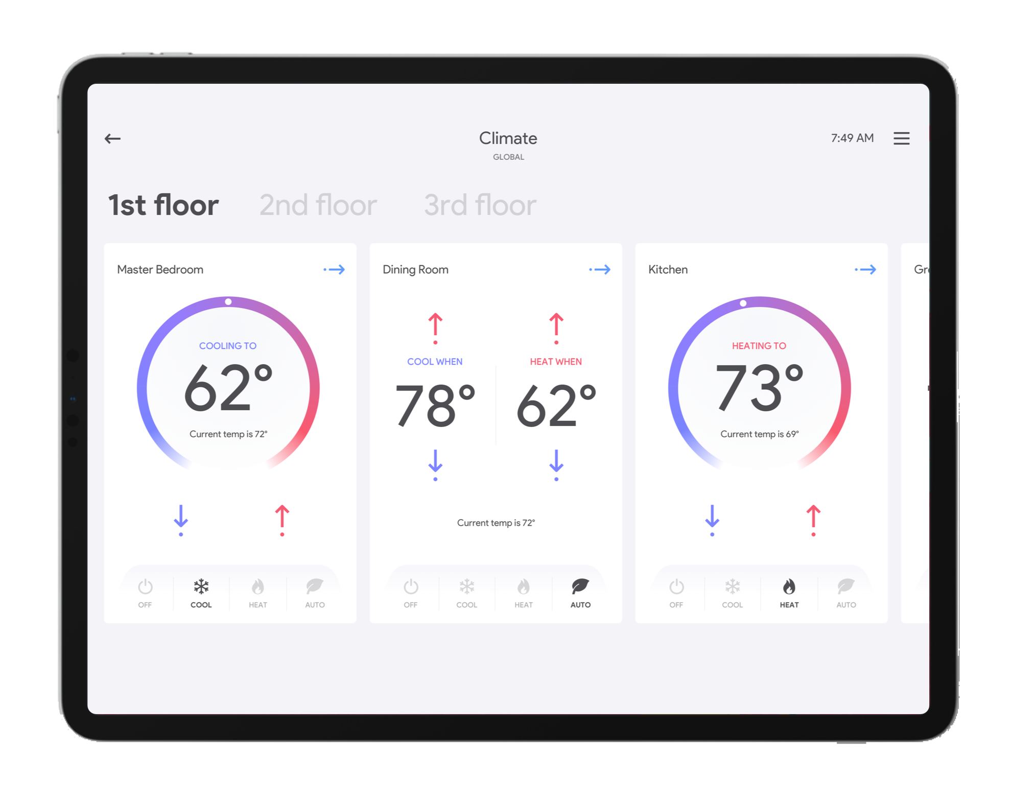 Rubicon Crestron template GUI showing multiple thermostat controls