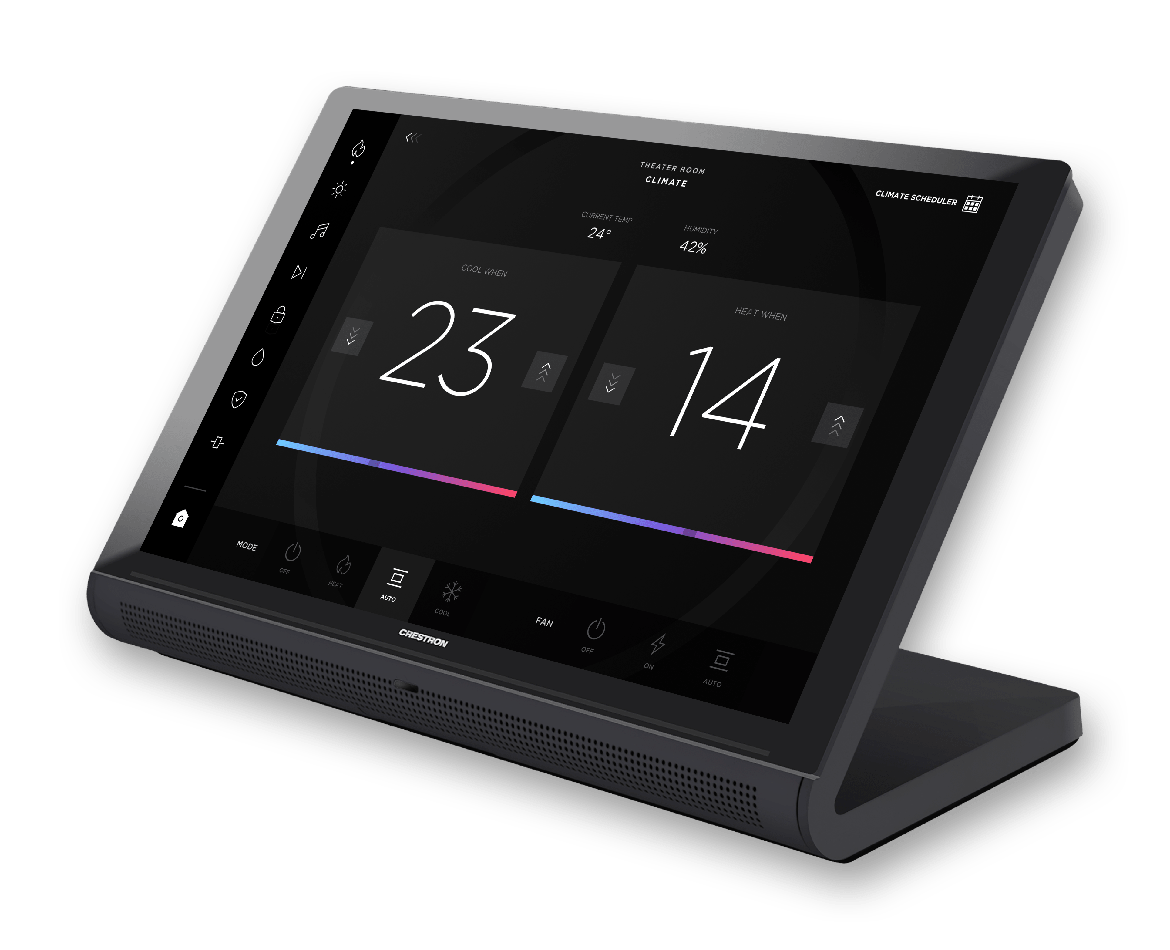Onyx Crestron GUI template showing thermostats on a TS-1070 touch panel