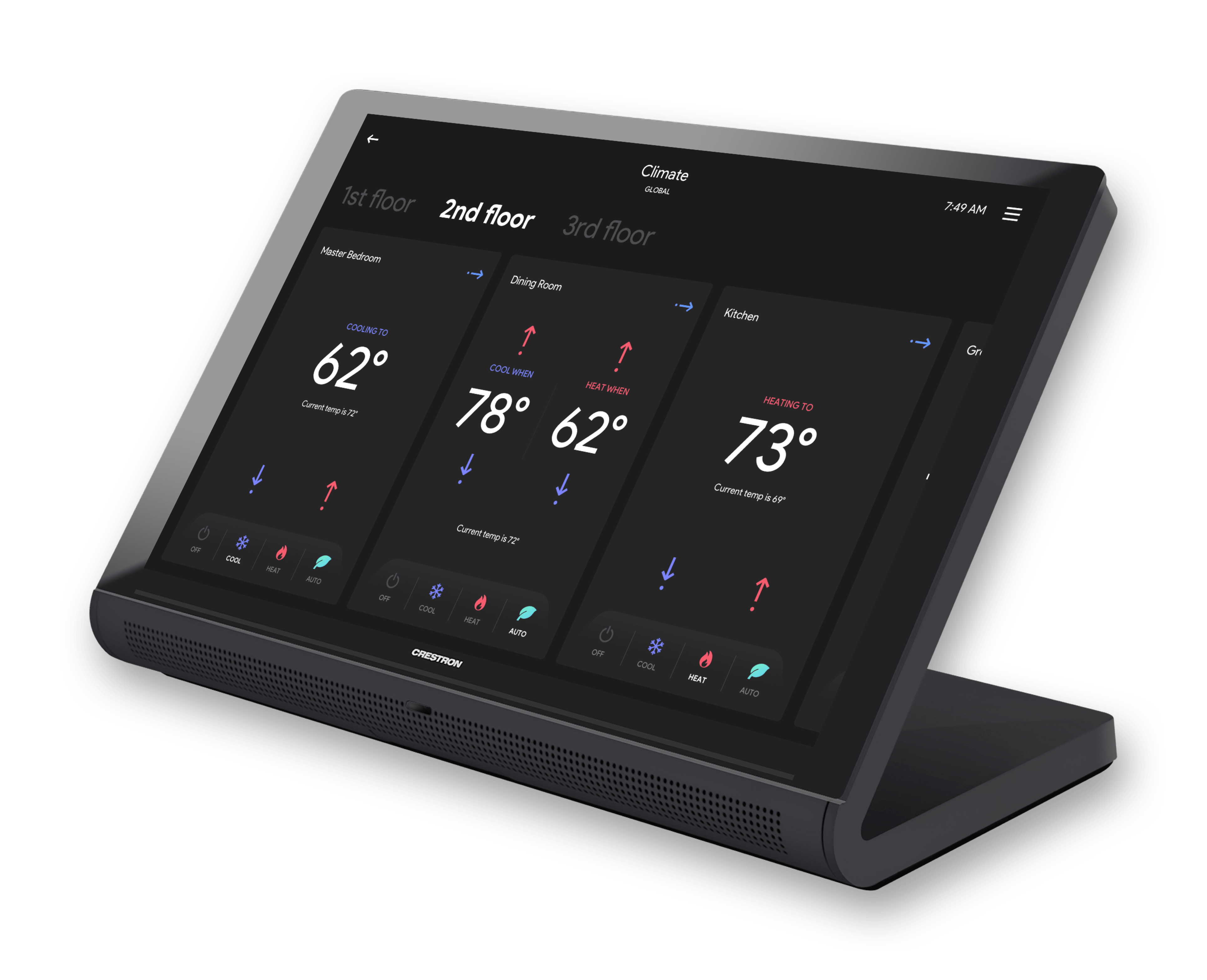 Rubicon Crestron GUI template showing thermostats on a TS-1070 touch panel