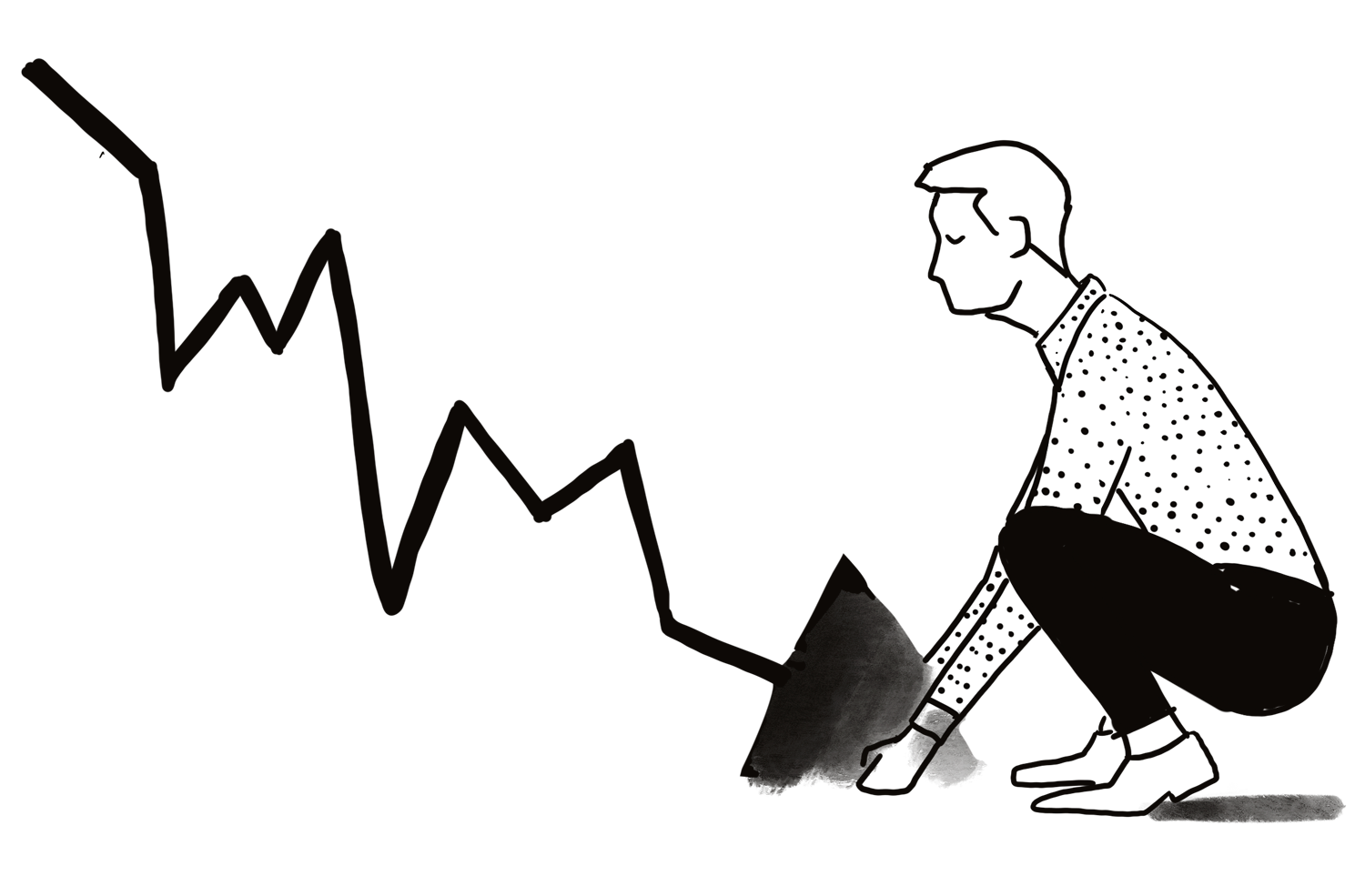 Illustration of man picking up arrow