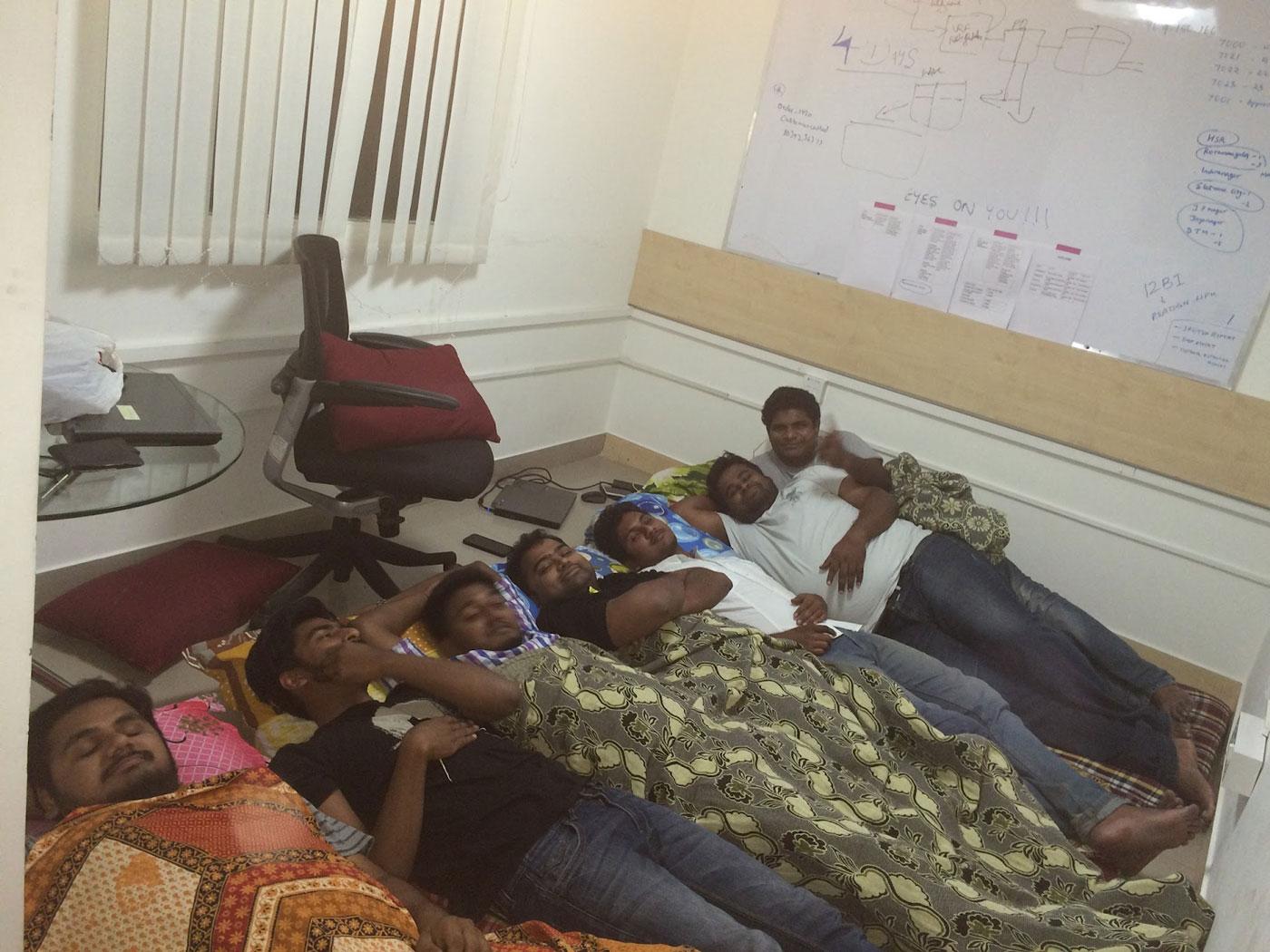 Meet The Ninjacart Team   Early Days of Ninjacart Team - Founders sleeping in the office