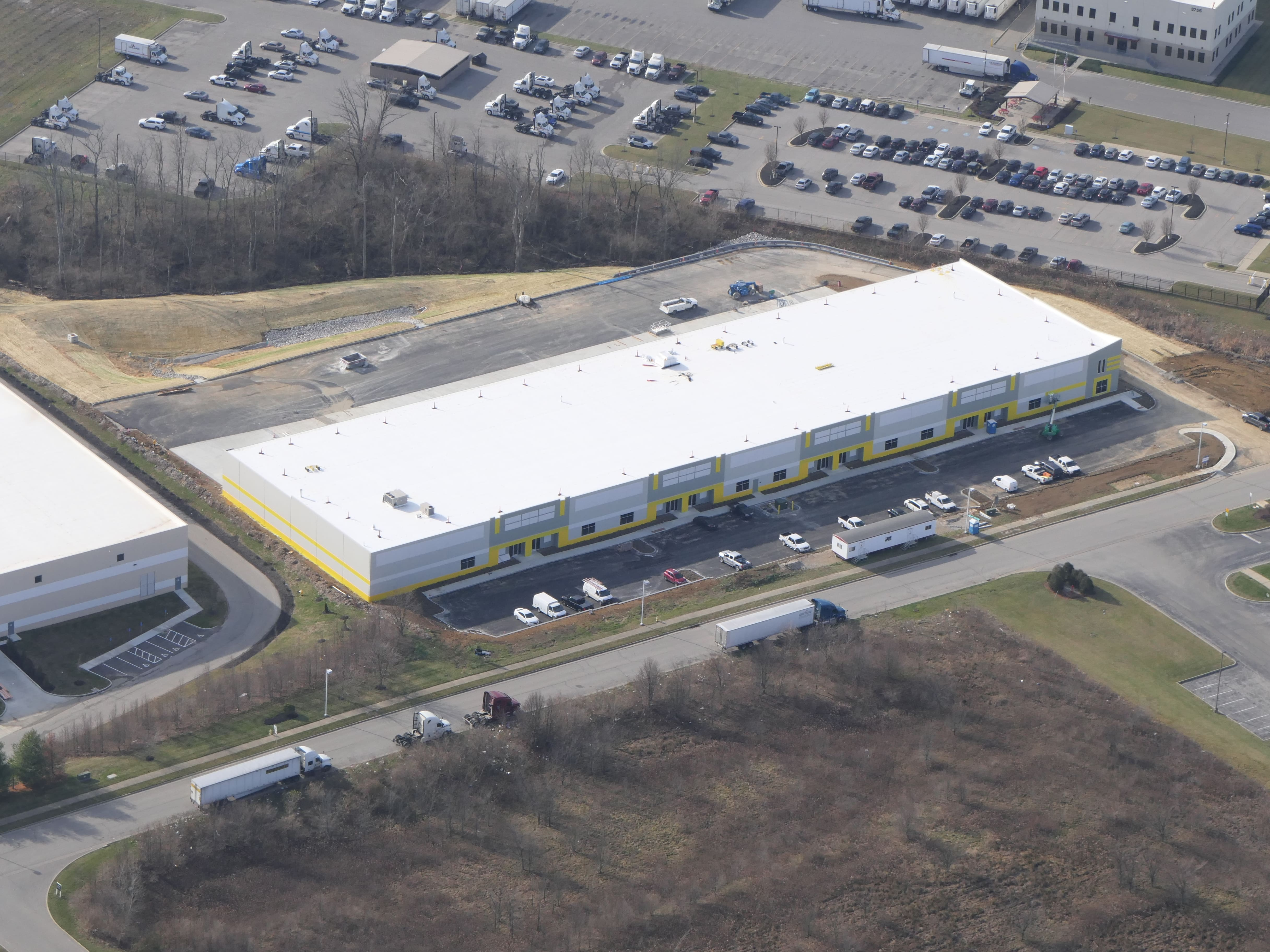 Lot 6, drone, industrial warehouse building, Hebron, KY