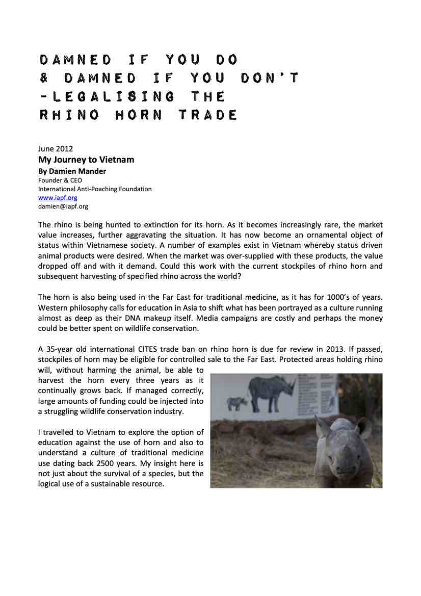 Legalising the Rhino Horn Trade