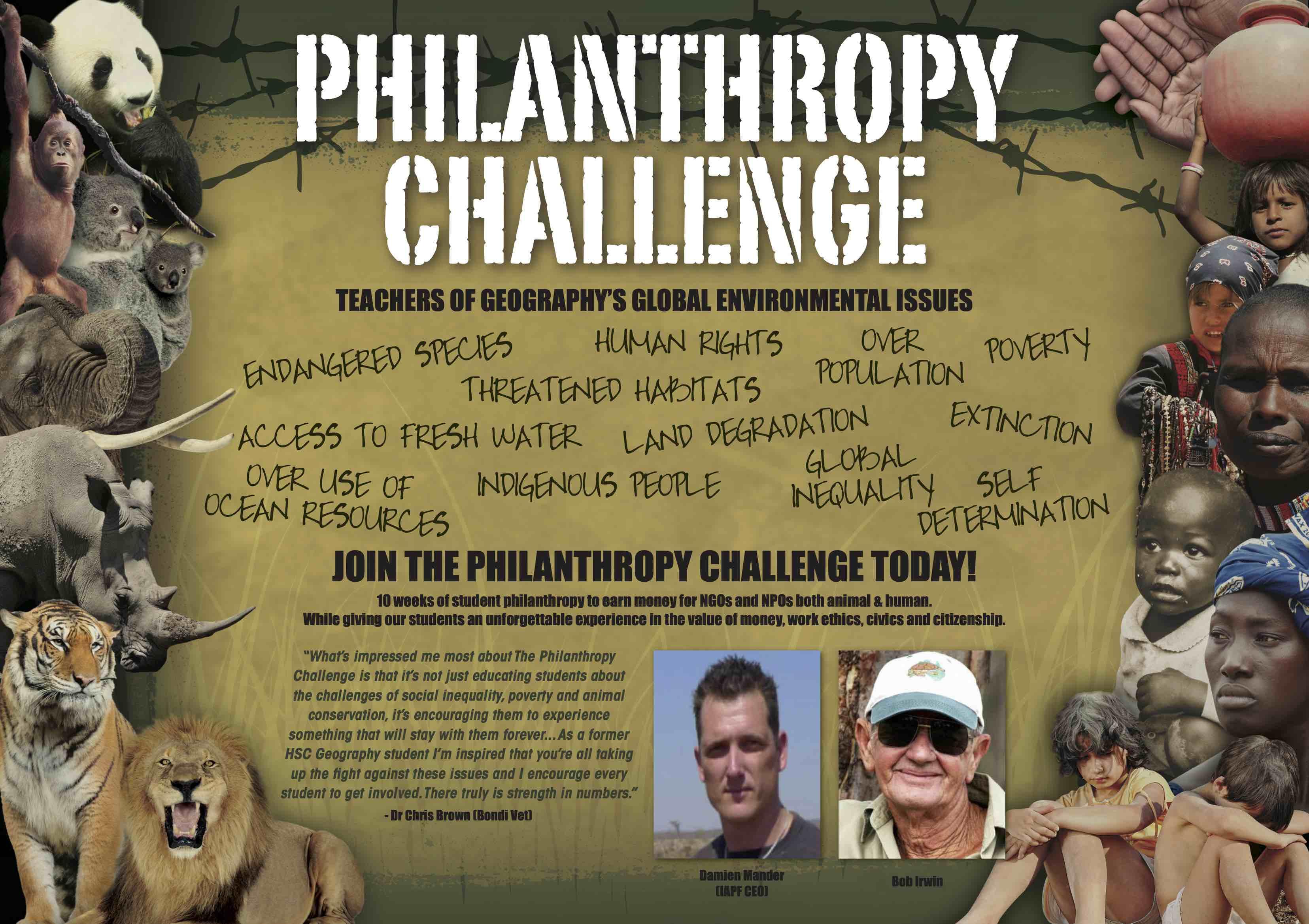 Philanthropy Challenge Poster with Bob Irwin