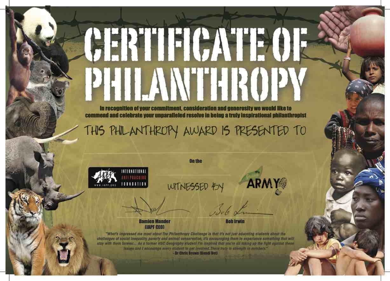 Certificate of Philanthropy with Bob Irwin