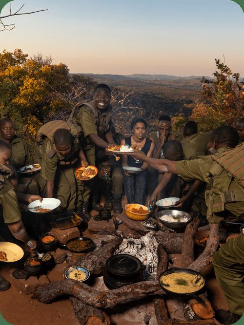 Akashinga Rangers with Food