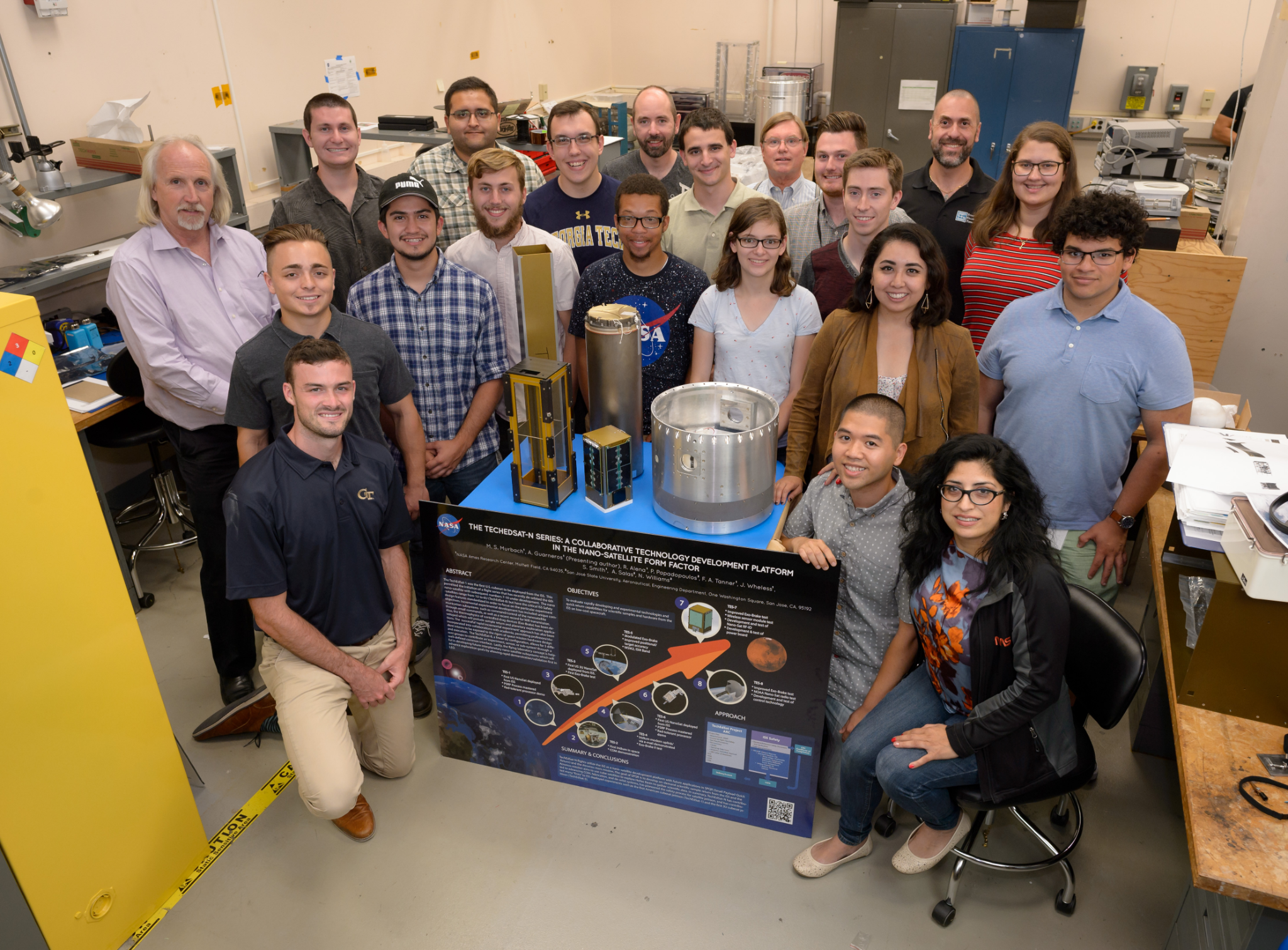 IMAGE:Ingersoll posing with the TechEdSat-8 Team (NASAAmes Research Center, Summer 2018)