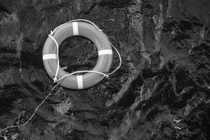 Safety equipment, life-saving buoy or rescue buoy floating in the sea to rescue people from drowning.