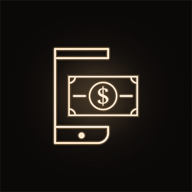 mobile wallet neon icon.