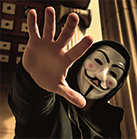 person wearing a guy fawkes mask and is extending his right arm in front of the camera.