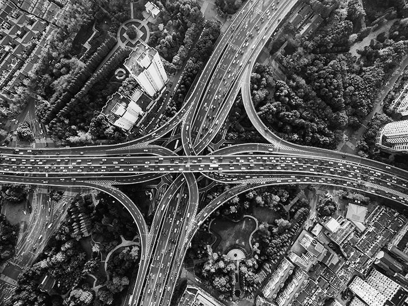 aerial view of a bustling freeway.