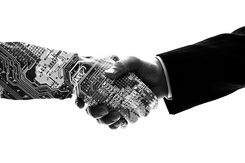 Partnership of human and robot by them shaking hands. AI (Artificial Intelligence).
