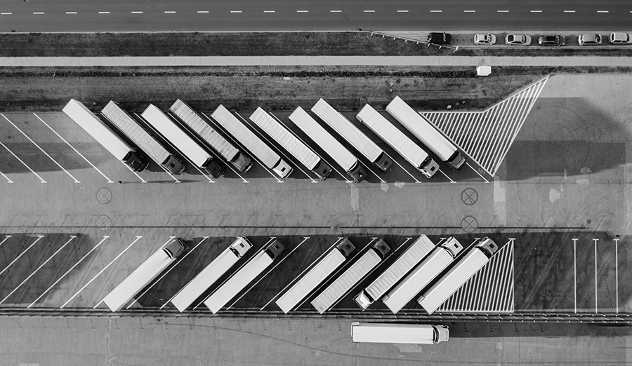 aerial view of delivery trucks waiting for the next supply of fresh California produce