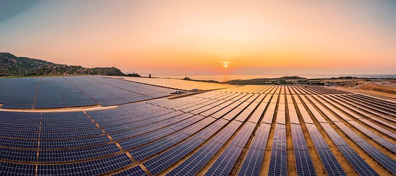 drone aerial view of a solar panel farm along the Israeli coast