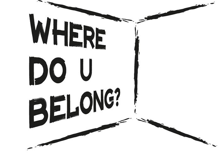 """Se trata de una imagen tipográfica con el fondo blanco y unas letras desgastadas en negro que dicen """"Where do u belong?""""."""