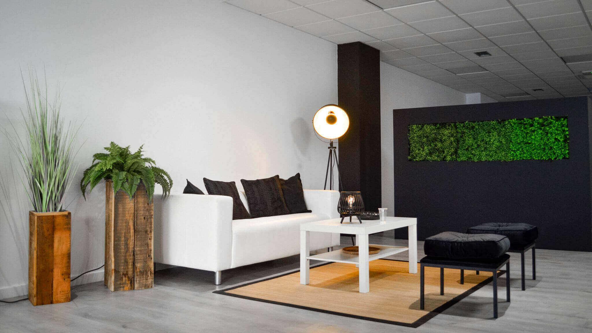Interior de la oficina de HACK A BOSS en Vigo. En concreto, una zona de descanso con un sofá, sillas y una mesa; además de otros elementos decorativos como plantas y lámparas.