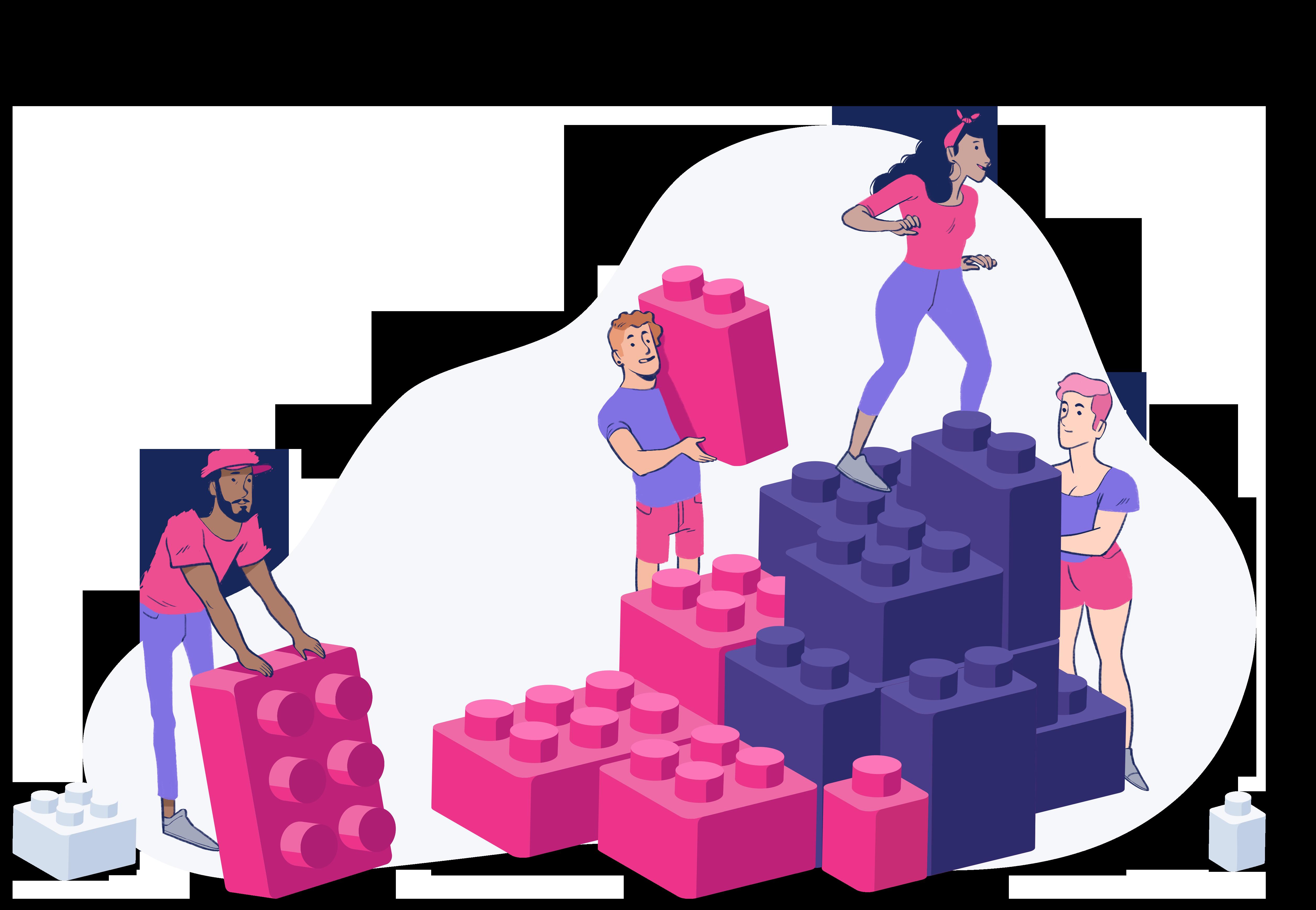 Nesta imagem existem 4 jovens vestindo roupas rosas e roxas (Cores da marca). Três deles estão segurando peças de LEGO gigantes e montando uma escada. Uma personagem está subindo nesta escada. Metaforicamente simboliza pessoas apoiando a subida de carreira da outra.