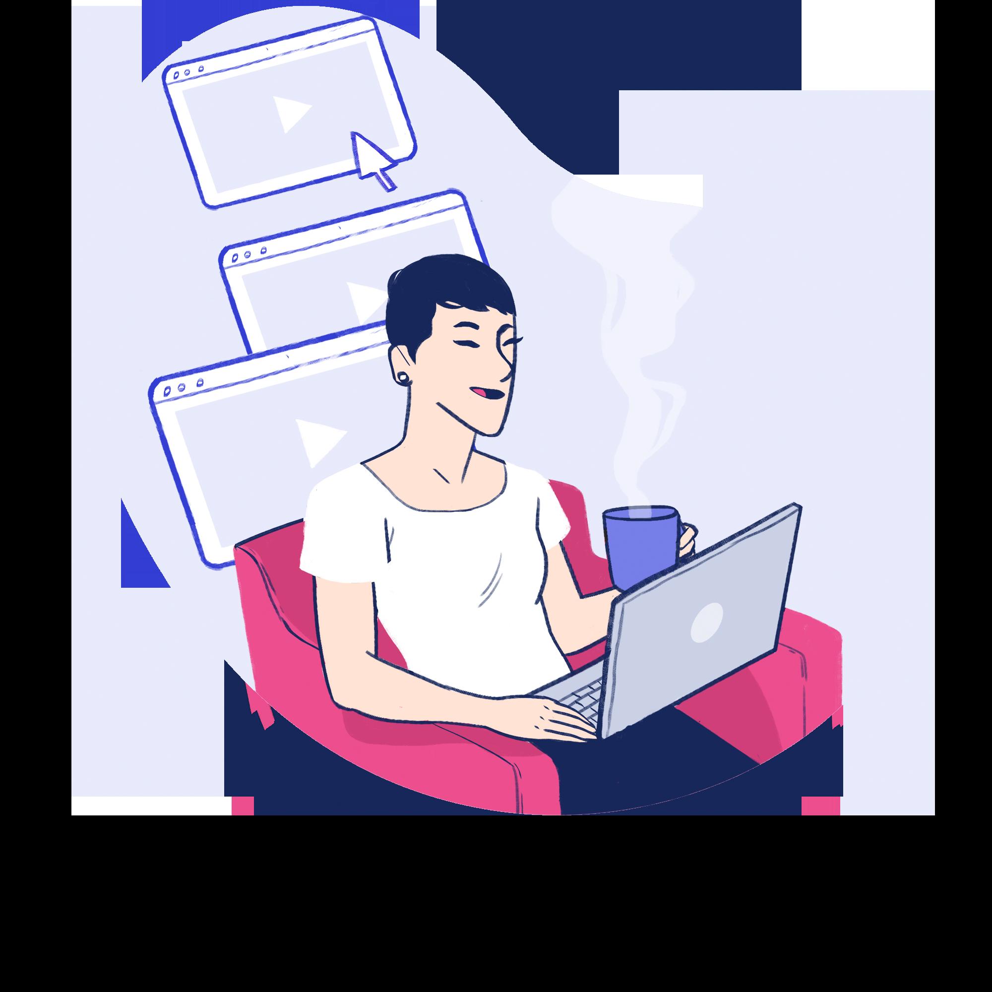 Esta imagem é uma ilustração de uma mulher assistindo aulas sentada na poltrona com um notebook no colo enquanto toma uma bebida quente numa xicara.