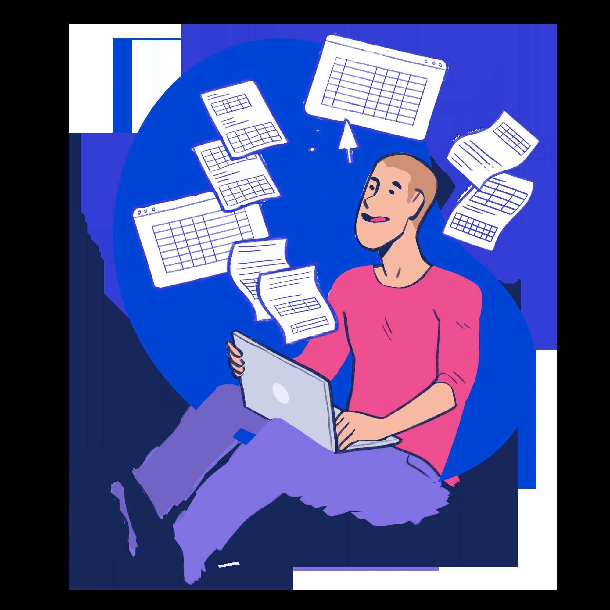 Esta imagem é uma ilustração de um rapaz com um notebook no colo e diversas planilhas.
