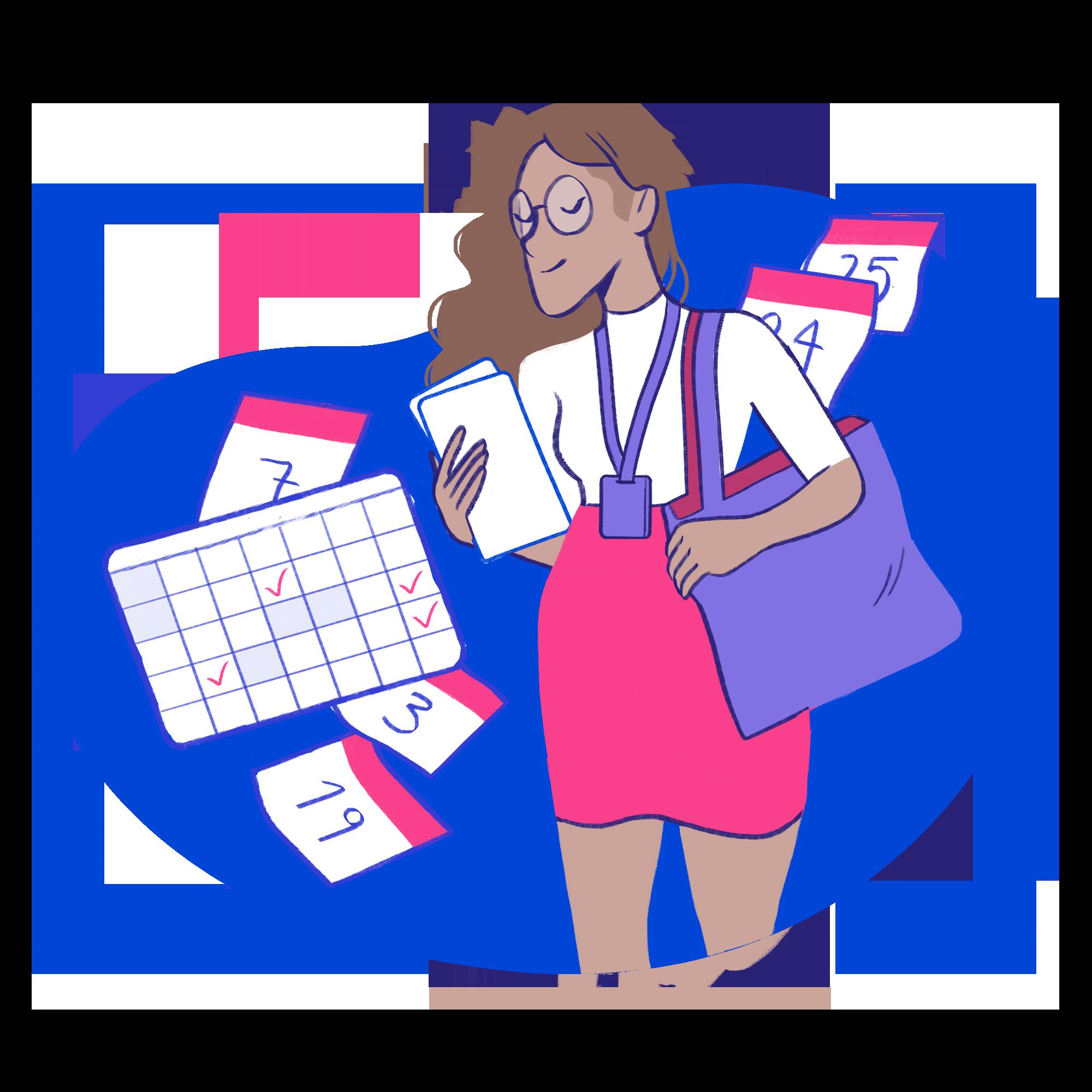 Esta imagem é uma ilustração de uma mulher com uma bolsa, olhando eventos e compromissos num calendário.