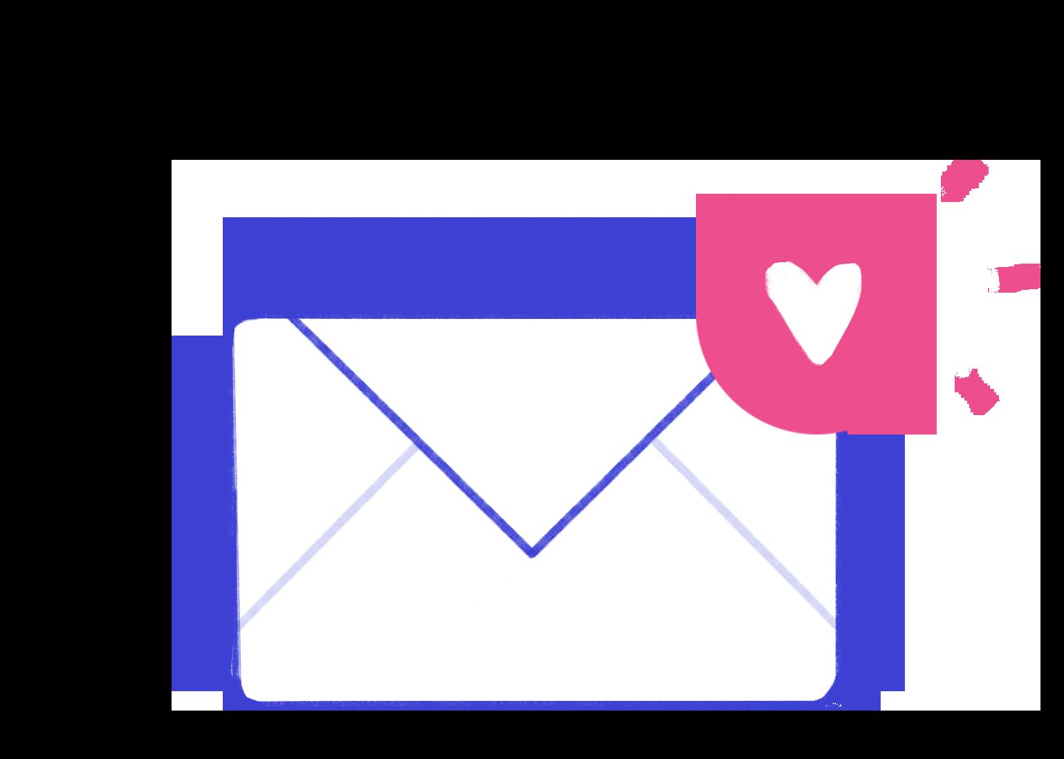 Esta imagem é um envelope fechado com um coração rosa na ponta superior direita.