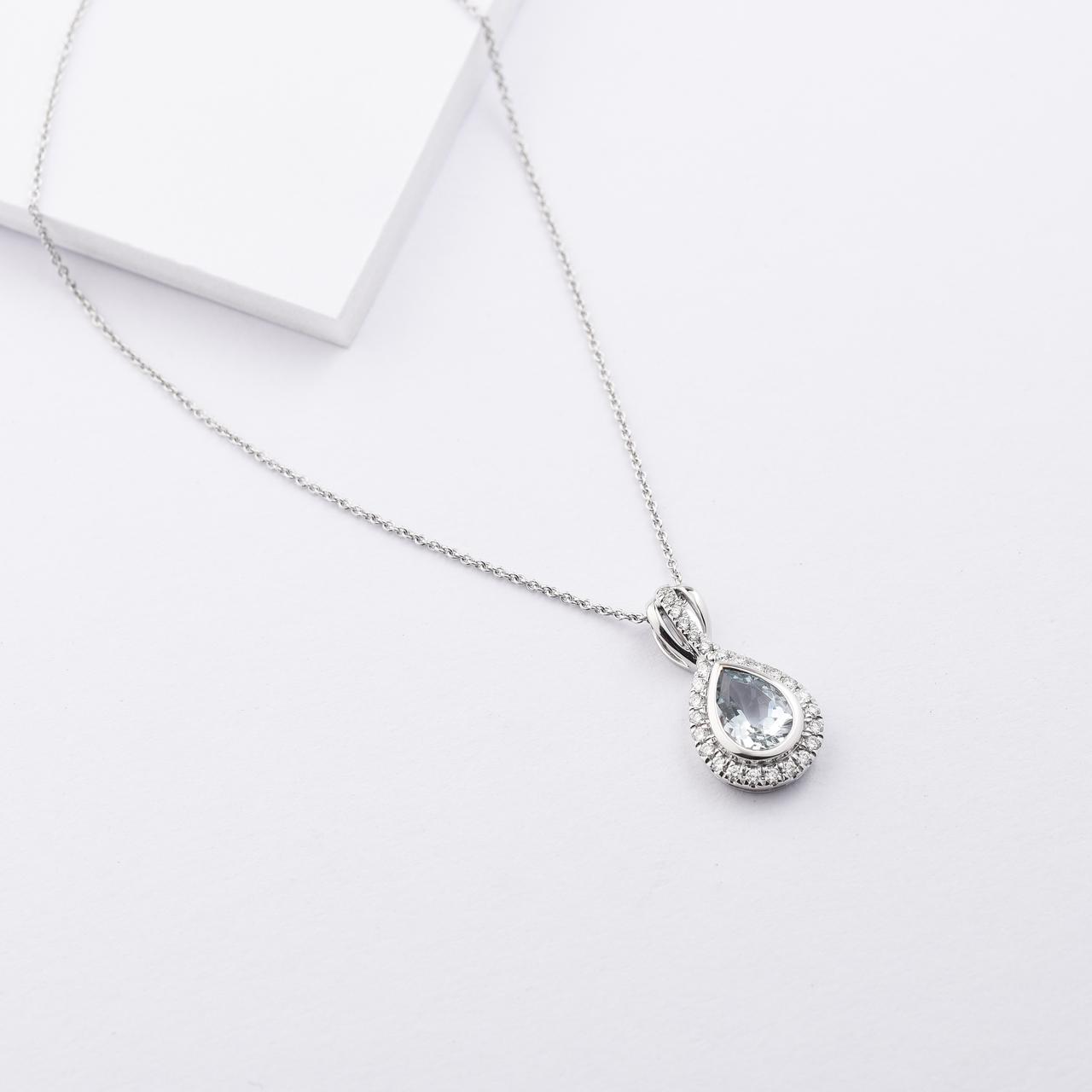18K White Gold Pear Aquamarine Diamond Halo Necklace 0.2tdw