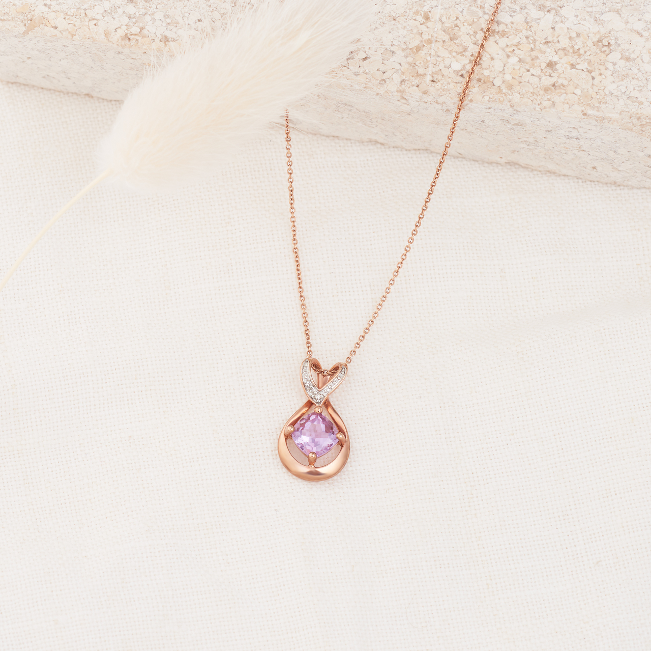 9K Rose Gold Cushion Pink Amethyst with Diamond Set Heart Bail Necklace