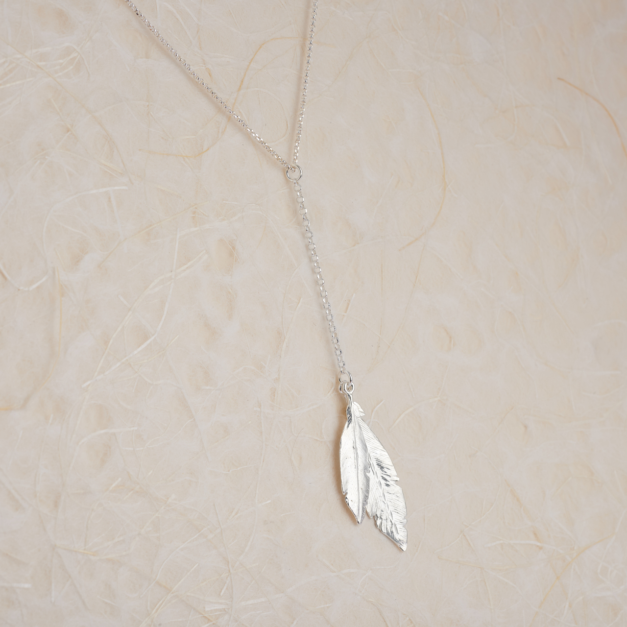 Sterling Silver Feather Drop Necklace