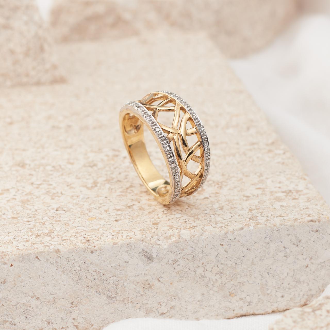 9K Yellow Gold Diamond Abstract Tangle Dress Ring 0.1tdw