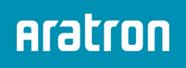 Aratron logotyp blå bakgrund och en vit text