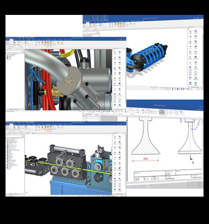 Fyra bilder med skärmdumpar av olika maskiner och ritningar