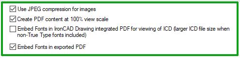 pdf options ironcad