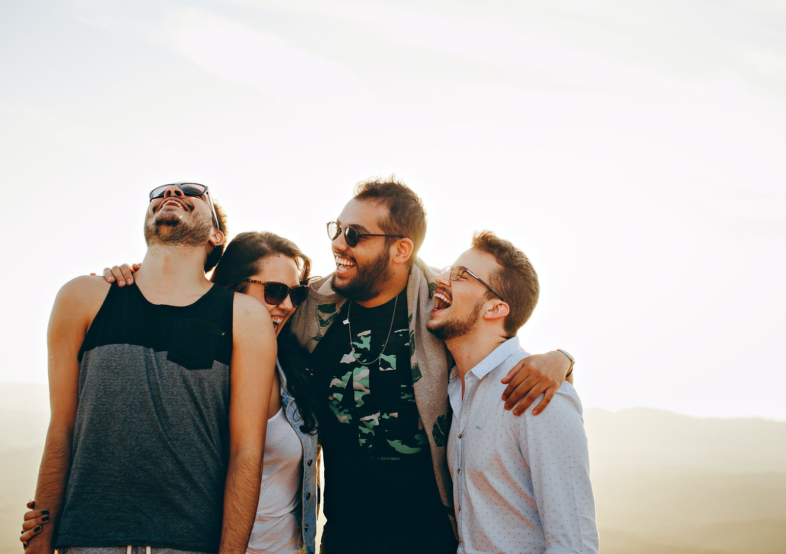 group of friends laughing.