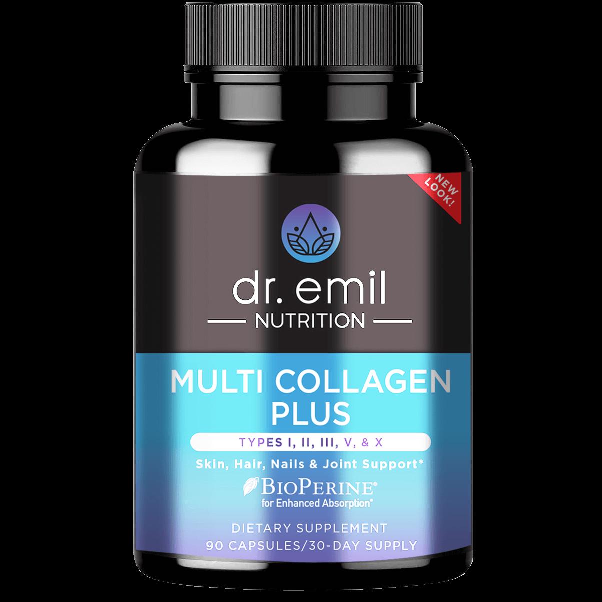 A bottle of Dr. Emil's Multi Collagen Plus.
