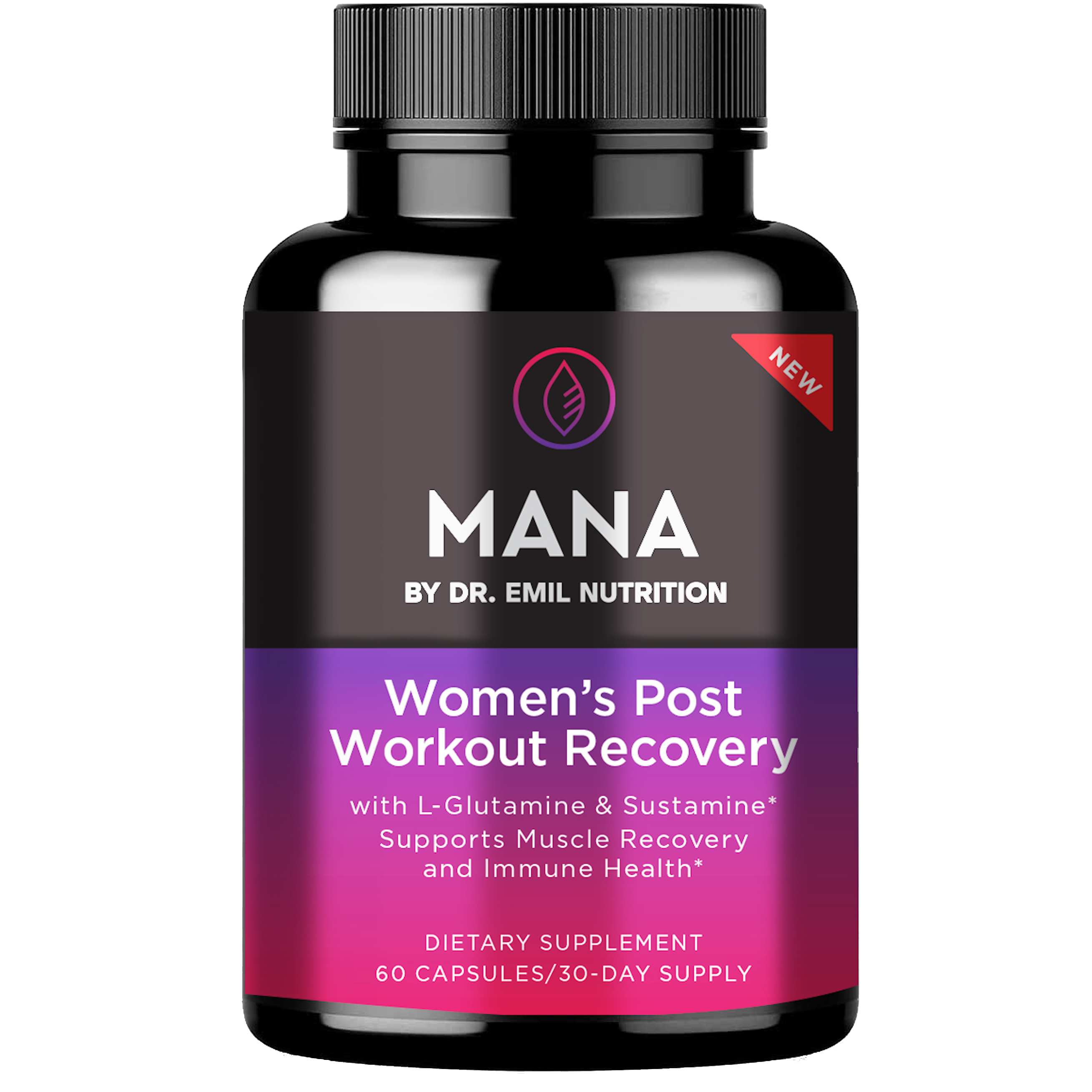 A bottle of Dr. Emil's Women's Post Workout Recovery Capsule.