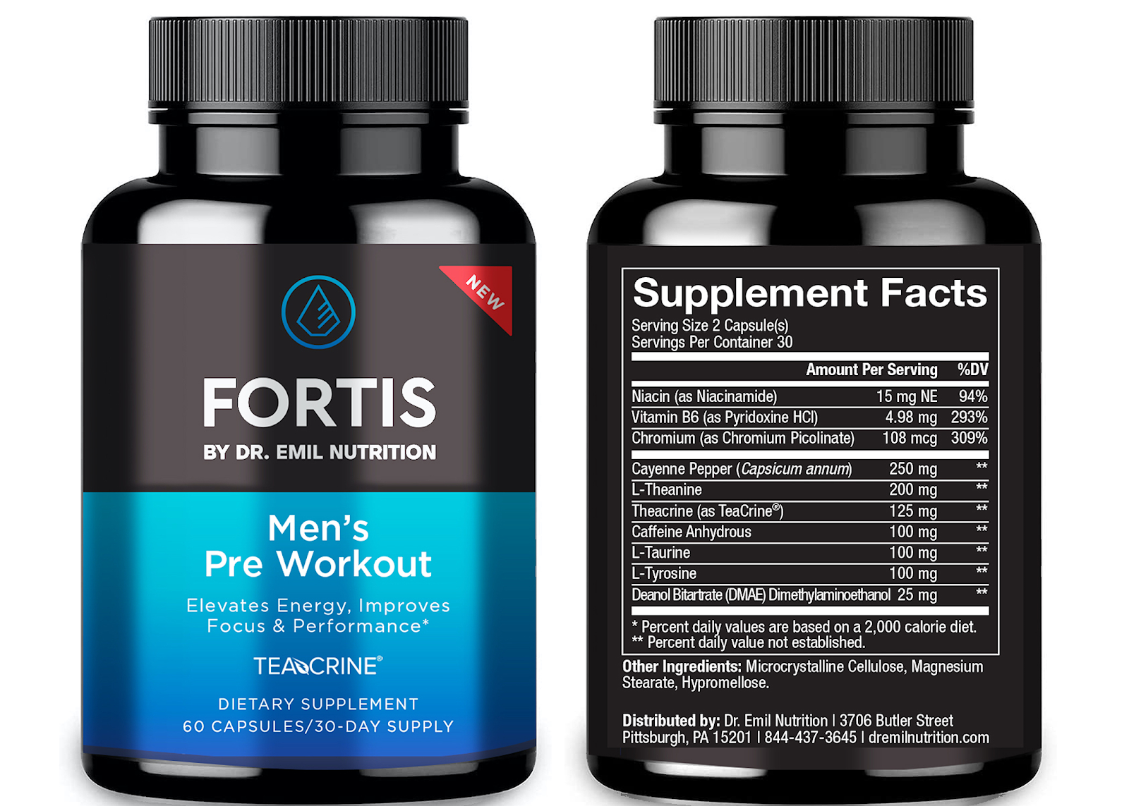 Dr. Emil Nutrition's Fortis Men's Pre-Workout Supplement