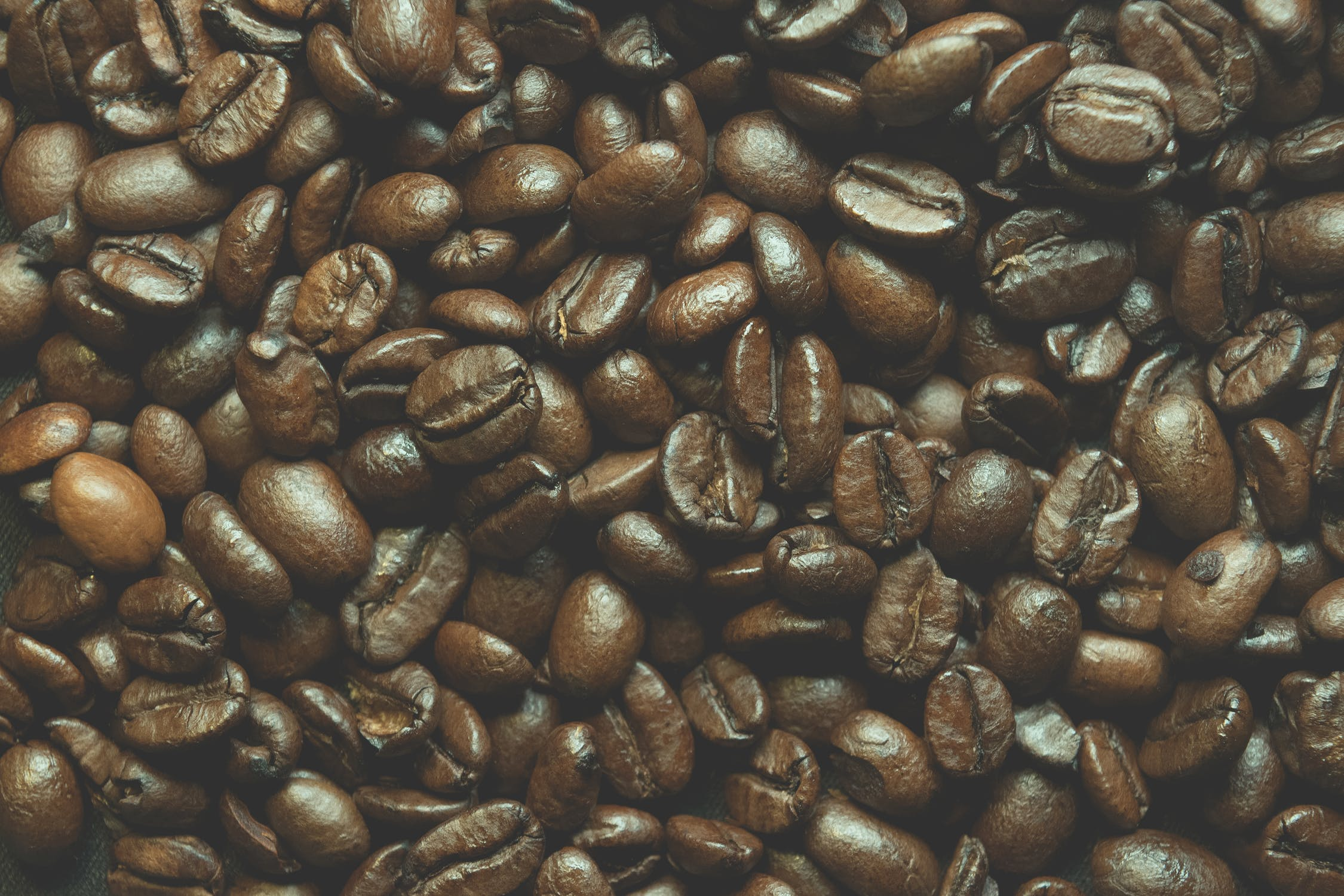 Fresh coffee beans fill the screen.